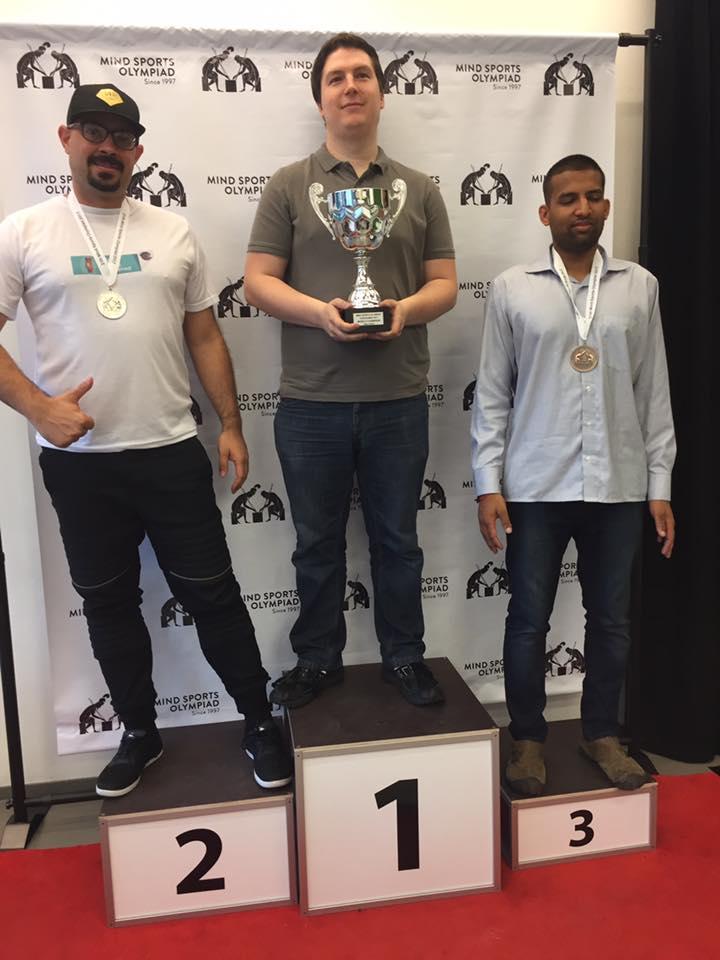 Eurogames World Championship: Mike Dixon (Gold), Ricardo Gomes (Silver) and Ankush Khandelwahl (Bronze)